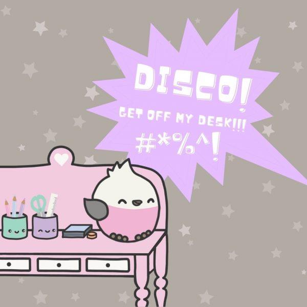 Disco on Thimble's desk